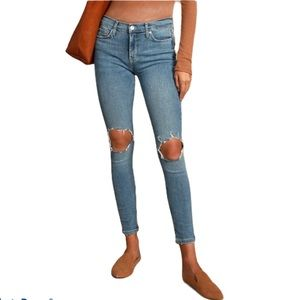 FREE PEOPLE Med Wash Mid Rise Busted Knee Skinny Jeans 26